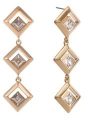 Christian Siriano New York Gold Tone Diamond Shape Linear Earrings