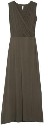 Loveappella Surplice V-Neck Knit Maxi Dress