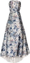 Mikael Aghal Strapless pleated printed satin gown