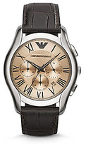 Emporio Armani Classic Stainless Steel Brown Croco Embossed Leather Strap Watch