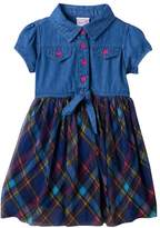 Nannette Toddler Girl Chambray Top Plaid Skirt Dress