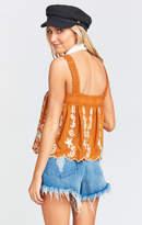 MUMU Hannah Silk Tank ~ Blushing Lace Camel
