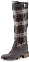Charles David Gentry Plaid Flat Riding Boot, Black