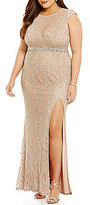 Jodi Kristopher Plus Illusion Yoke Long Lace Dress