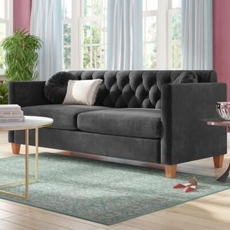 """Everly Quinn Rashid Velvet 79.5"""" Square Arms Sofa Upholstery Color: Dark Blue"""
