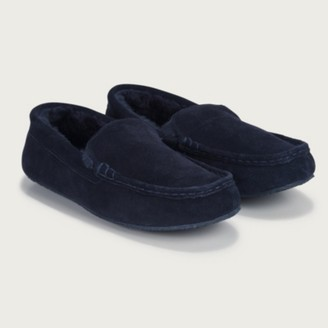 The White Company Men's Suede Moccasin Slippers, Navy, 12