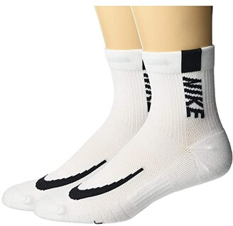 Nike Multiplier Running Ankle Socks 2-Pair Pack (Black/White) Low Cut Socks Shoes