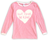 Urban Smalls Heather Pink 'But First Be Kind' Boatneck Top - Toddler & Girls