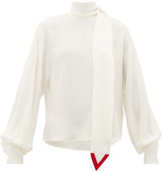 Valentino V-neck Tie Silk-georgette Blouse - Womens - Ivory