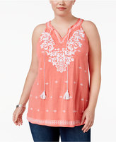 INC International Concepts Plus Size Appliquéd Peasant Top, Only at Macy's