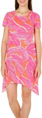 Caribbean Joe Women's Short Sleeve Uneven Sharkbite Hem Dress