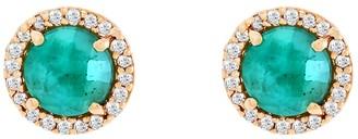 Adornia Fine 14K Yellow Gold Diamond & Emerald Stud Earrings
