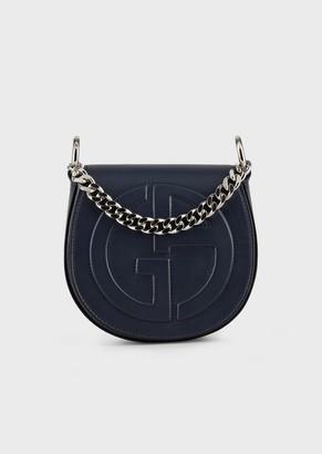 Giorgio Armani Round, Leather Shoulder Bag With Embossed Ga Logo