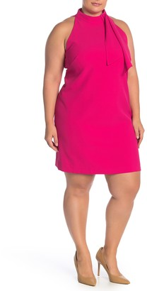 Vince Camuto Tied Mock Neck Shift Dress (Plus Size)
