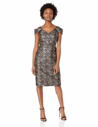 Maggy London Women's Petite Rose Brocade Cold Shoulder Cocktail Sheath