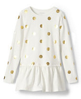 Classic Girls Long Sleeve Graphic Skirted Legging Top-Ivory Foil Dots