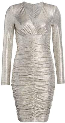 Teri Jon By Rickie Freeman Ruched Long-Sleeve Metallic Sheath Dress