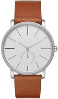 Skagen Men's Hagen Genuine Leather Strap Watch