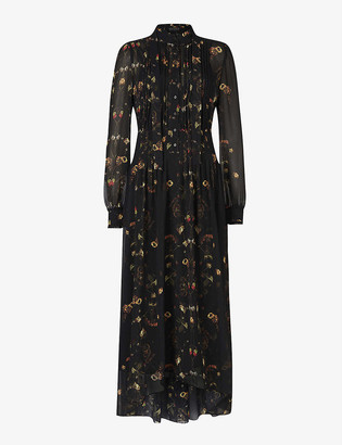 AllSaints Pippa Osmosis pleat-front floral dress