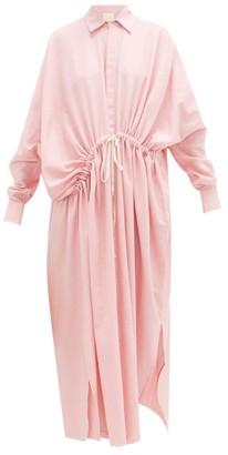 Marrakshi Life - Diagonal-waist Cotton-blend Shirt Dress - Womens - Pink