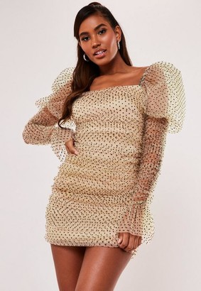 Missguided Cream Polka Dot Organza Puff Long Sleeve Mini Dress
