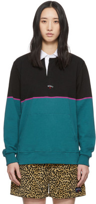 Noah NYC Black and Green Blocked Rugby Polo