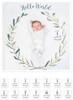 Lulujo Baby's First Year Hello World Muslin Blanket & Milestone Card Set