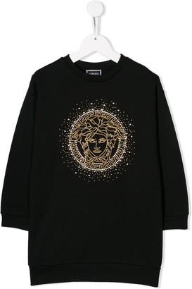 Versace Embellished Logo Dress