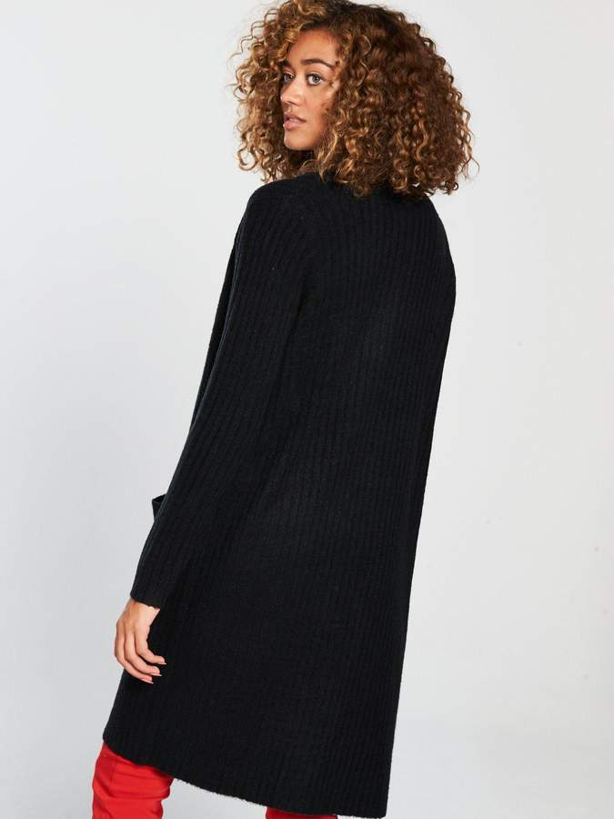 Very LonglineRib Cardigan - Black