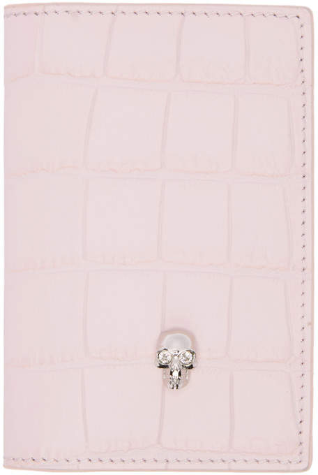Alexander McQueen Pink Croc Pocket Organizer Card Holder