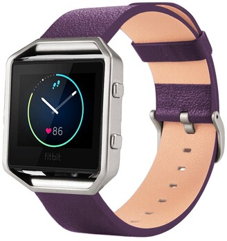 Posh Tech Large Leather Band for Fitbit Blaze with Frame - Purple
