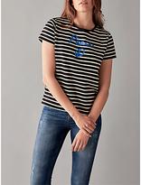 People Tree Peace Stripe T-Shirt, Black/White