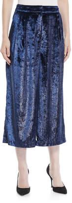 Tibi Stella Cropped Metallic Velvet Wide-Leg Pants