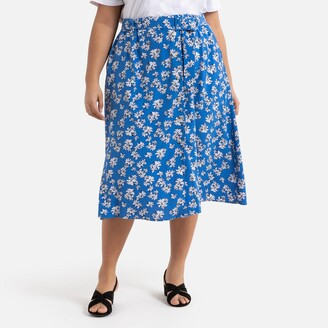 La Redoute Collections Plus Buttoned Floral Midi Skirt with Tie-Waist