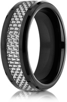 Ice Cobalt 8mm Comfort-Fit White Carbon Fiber Inlay Ring