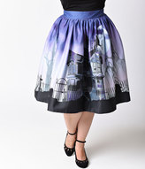 Unique Vintage Plus Size 1950s Purple Haunted Mansion High Waist Circle Swing Skirt
