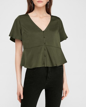Express Short Sleeve Peplum Shirt
