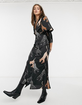 NEVER FULLY DRESSED button through puff sleeve midaxi dress in leopard print