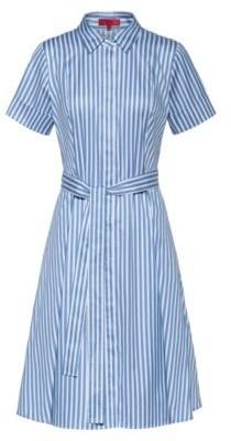 HUGO BOSS Slim-fit shirt dress in striped cotton twill
