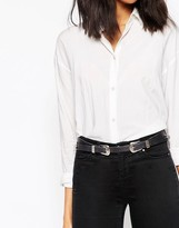 Asos Leather Slim Double Buckle Western Waist And Hip Belt