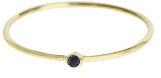 Jennifer Meyer Thin Black Diamond Yellow Gold Stacking Ring