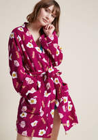 ModCloth Serving Smiles Fleece Robe in S, M - Wrap Short Length