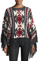 Raga Aztec Dreams Fringed Sweater, Gray