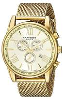 Akribos XXIV Men's AK813YG Round Yellow Gold Radiant Sunburst Dial Chronograph Quartz Bracelet Watch