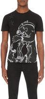 Just Cavalli Jaguar-embroidered Cotton-jersey T-shirt