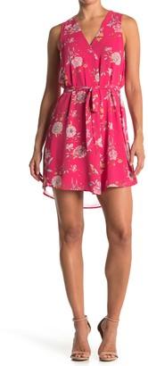 Dr2 By Daniel Rainn Floral V-Neck Sleeveless Tie Waist Dress