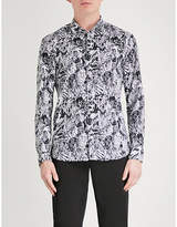 HUGO Abstract-print slim-fit cotton shirt