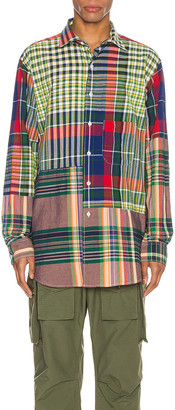 Engineered Garments Spread Collar Shirt in Red & Blue & Green Big Madras Plaid | FWRD