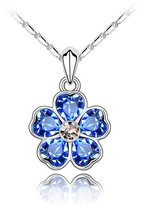 Move&Moving Silver Swarovski Elements Crystal Diamond Accent Flower Pendant Chain Necklace for women teenage girls kids children, with a Gift Box, Ideal Gift for Birthdays / Christmas / Wedding-, Model: X19577