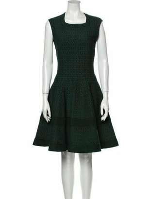 Alaia Printed Knee-Length Dress Green